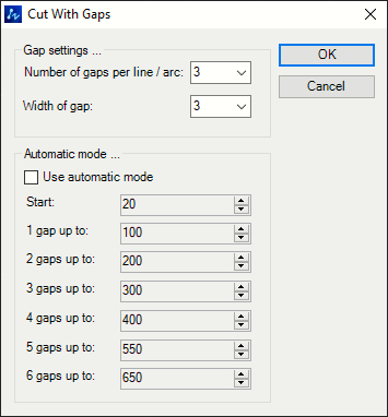 Draw Cut with multiple Gaps Tool Window