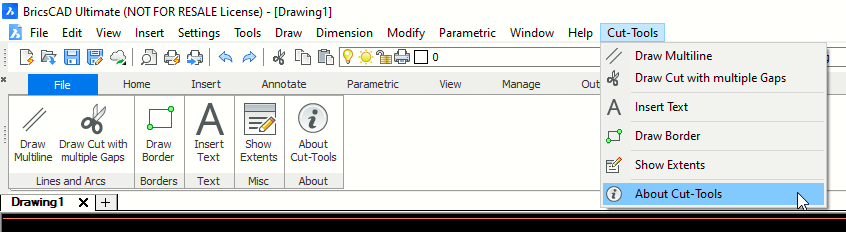 Cut-Tools Menu - Screenshot from BricsCAD