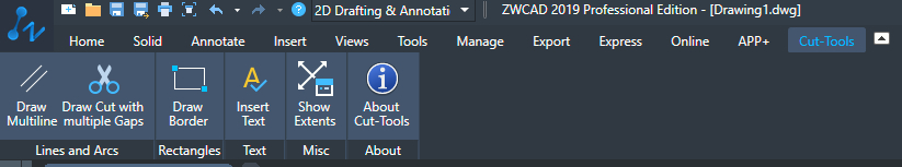 Cut-Tools Ribbon Panel - Screenshot from ZWCad