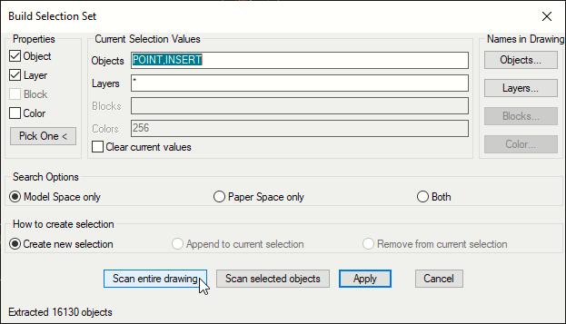 Build Selection Set Window