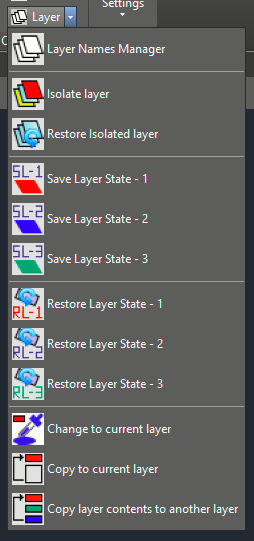 Layers fly-out menu